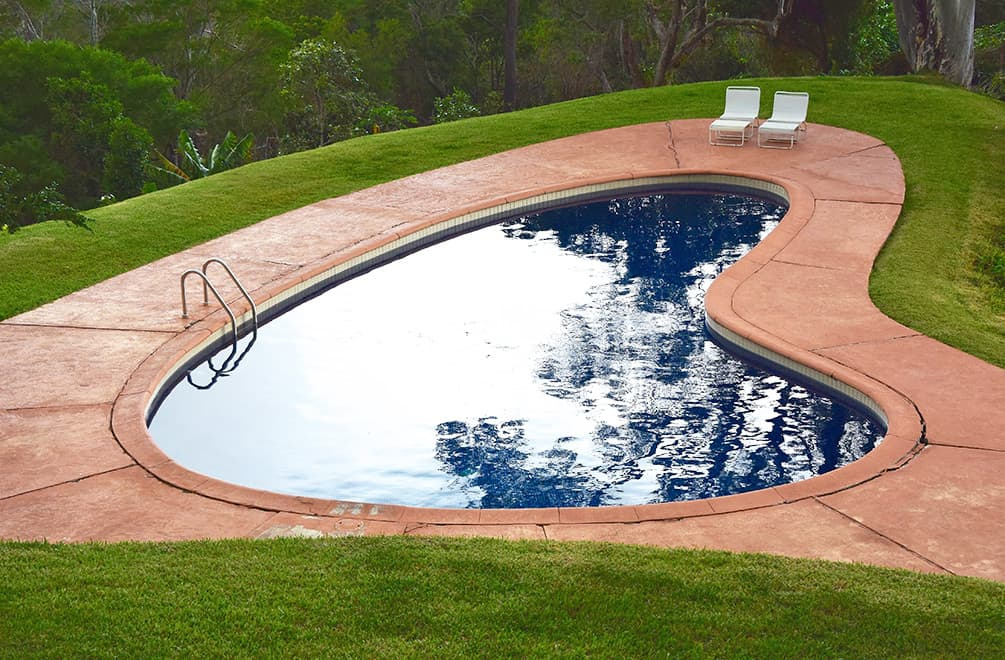 Kidney-shaped pool at the Liljestrand House