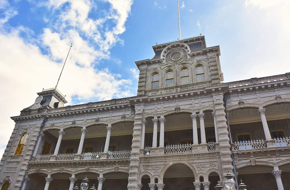 exterior of iolani palace, on the honolulu architectural walking tour