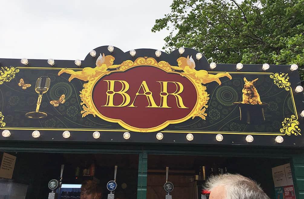 Bar sign at the Edinburgh Fringe Festival