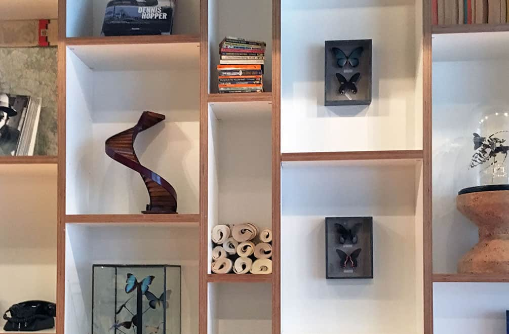Art objects on shelving at CitizenM Glasgow Hotel