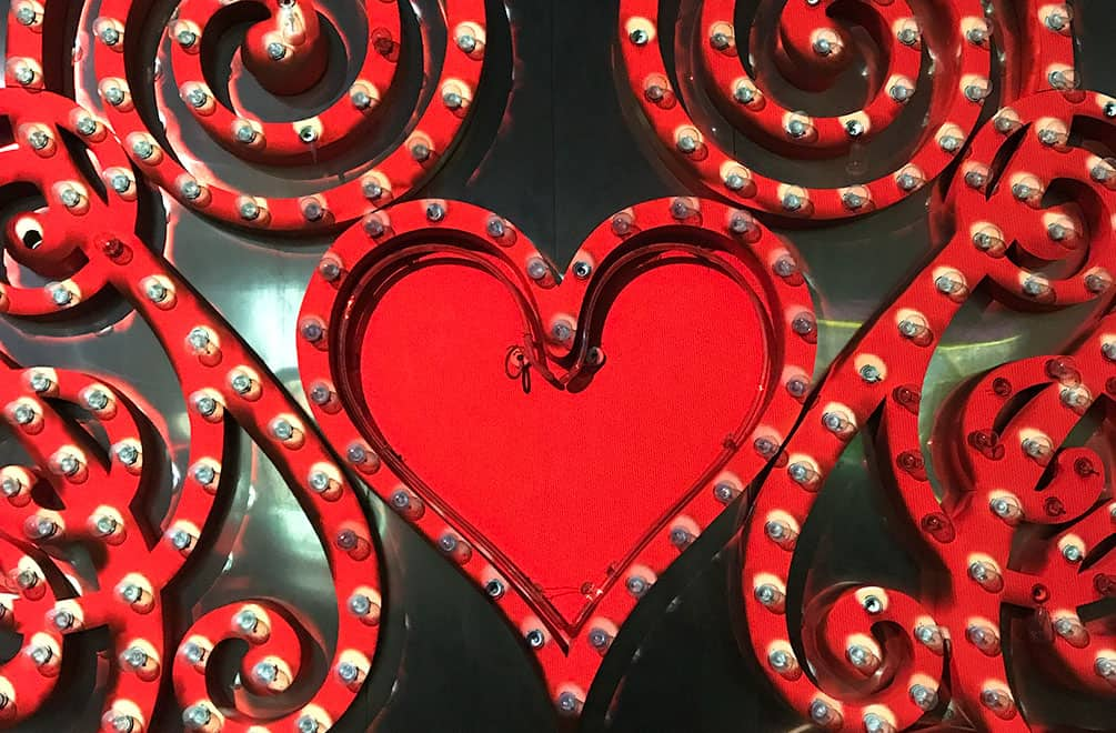 Heart lights from Brilliant, the projection mapping show at the neon museum las vegas