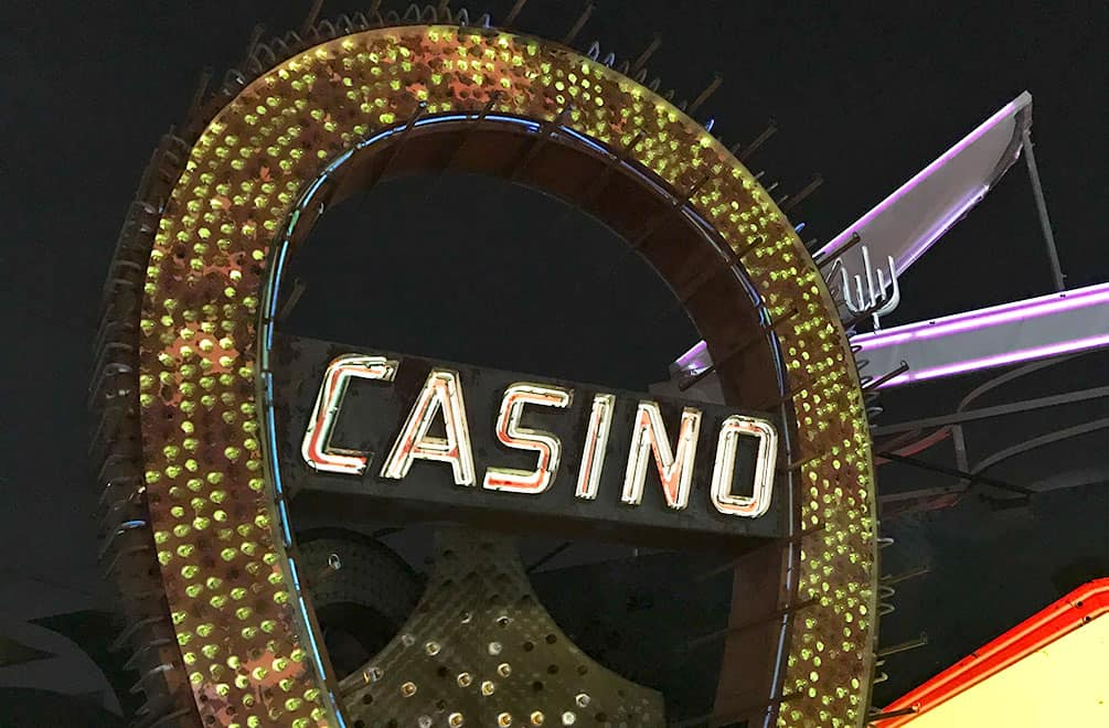 Neon horseshoe with the word Casino inside it, brilliant neon museum las vegas