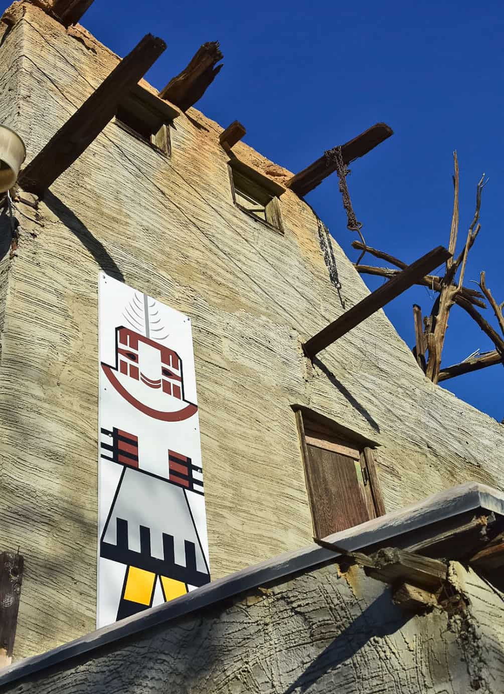 Kachina painting on the side of Cabot's Pueblo Museum