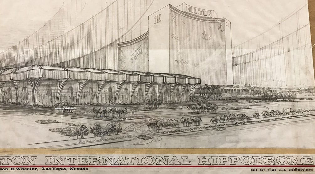 Architectural sketch of the Hippodrome, attached to the Hilton by Gary Guy Wilson