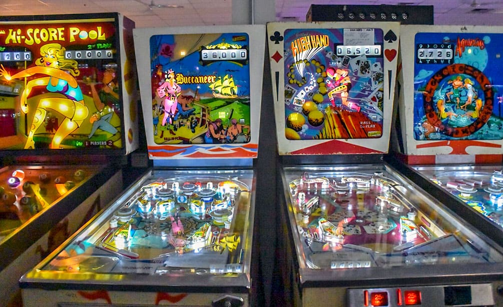 Four pinball machines at Pinball Hall of Fame, Las Vegas