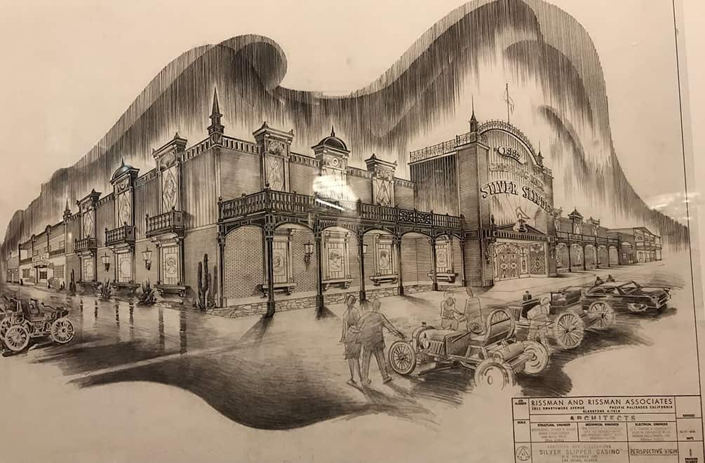 Architectural sketch of the Silver Slipper casino, by Homer Rissman